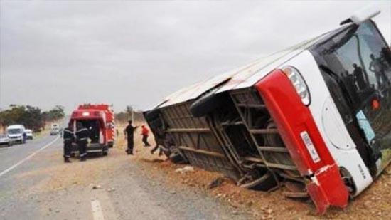 قتيل وجرحى في حادث انقلاب حافلة بوزان