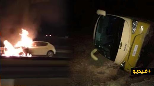 شاهدوا.. حوادث سير واحتراق سيارة وانقلاب حافلة بعد قرار الحكومة