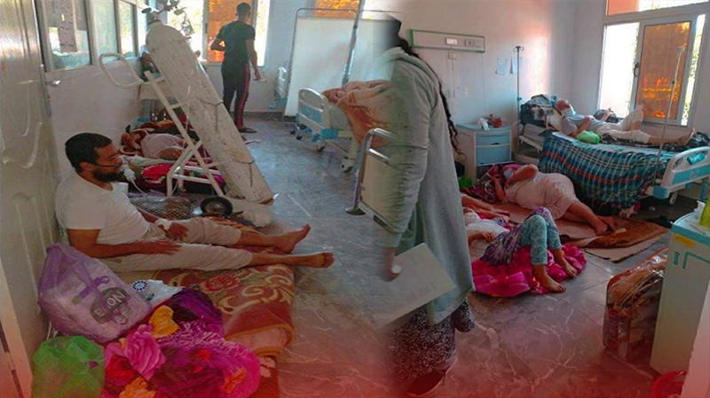 """شاهدوا.. مرضى يفترشون الأرض بالمستشفى وترك مصابين بكورونا في """"الشارع"""""""