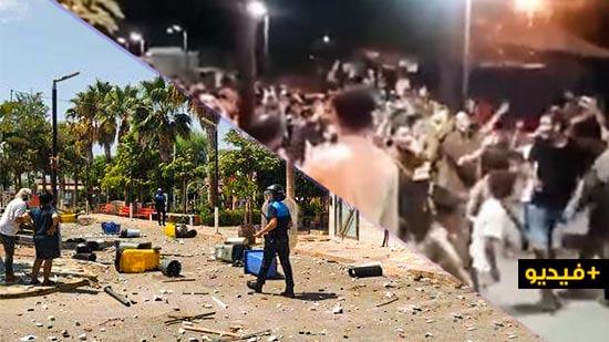 شاهدوا.. الشرطة تتدخل بالرصاص المطاطي لإخماد عصيان بداخل مركز اللاجئين في مليلية