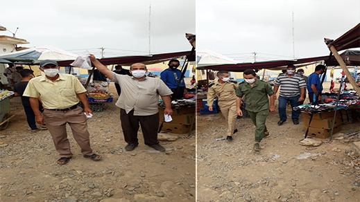 """فعاليات المجتمع المدني بإعزانن تقود حملة تحسيسية بسوق البلدة وتوزع الكمامات للوقاية من """"كورونا"""""""