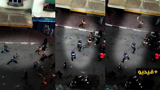 شاهدوا.. شرطي يطلق الرصاص لتوقيف شخص عرض أمن المواطنين لتهديد خطير
