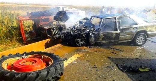 حادثة سير بين جرار فلاحي وسيارة خفيفة تخلف إصابة 4 أشخاص بجروح خطيرة ضواحي الناظور