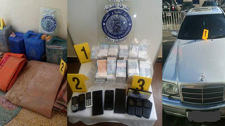 """عناصر الشرطة القضائية بالناظور توقف شخصين وتحجز مبلغ مالي وسيارة ب""""أفرا"""" ضواحي أزغنغان"""