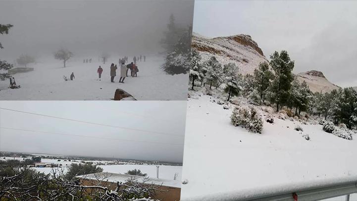 شاهدوا.. مدن الريف والشرق تكتسي حلة بيضاء بسبب التساقطات الثلجية المهمة