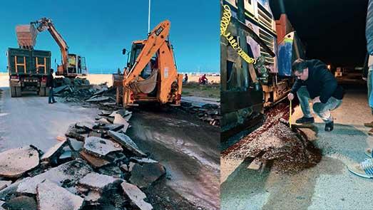 رئيس مجلس بلدية الناظور يتفقذ أشغال إصلاح طريق في حي المطار