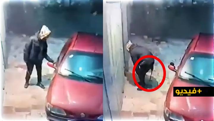 شاهدوا.. كاميرا المراقبة ترصد إقدام لص خطير وبحوزته سيف كبير على اقتحام منزل بالناظور