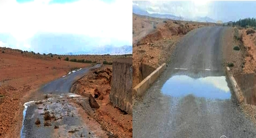 التساقطات المطرية تفضح الغش في أشغال الطريق الرابطة بين جماعة بوبكر ودوار أولاد حدو بنعلي
