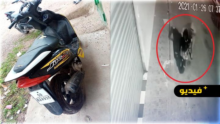 """كاميرا المراقبة ترصد """"لصا"""" يسرق دراجة نارية وسط سوق أولاد ميمون"""