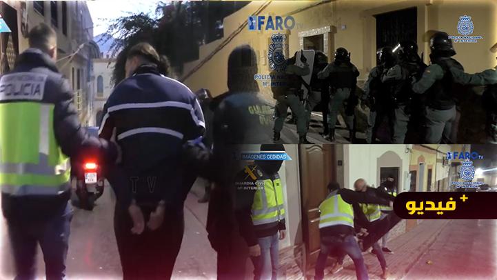 شاهدوا.. اعتقال مغاربة واسبان في مليلية يتزعمون شبكة أغرقت اسبانيا بالمخدرات والحراكة