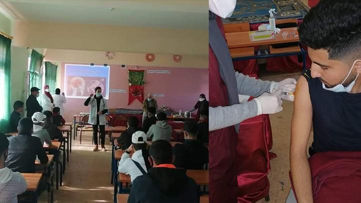 تلاميذ القسم الداخلي باعدادية الفرابي بدار الكبداني يستفدون من التطعيم ضد مرض التهاب السحايا