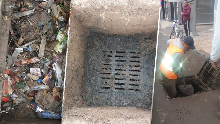 جماعة ازغنغان تنظف بالوعات الصرف الصحي من الأزبال تجنبا للفيضانات
