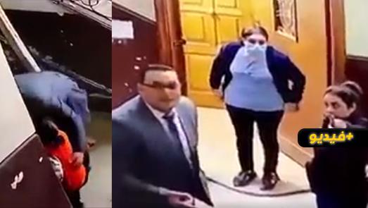 شاهدوا.. كاميرا مراقبة ترصد تحرش رجل أعمال بطفلة صغيرة وتصدي سيدة له