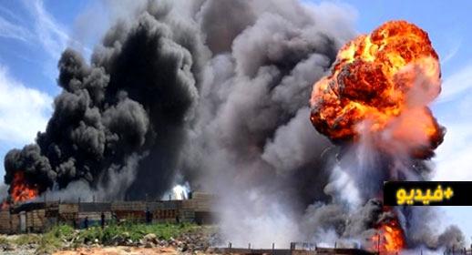 """شاهدوا.. اندلاع حريق مهول في أحد أكبر أسواق """"المتلاشيات"""" بالمغرب"""
