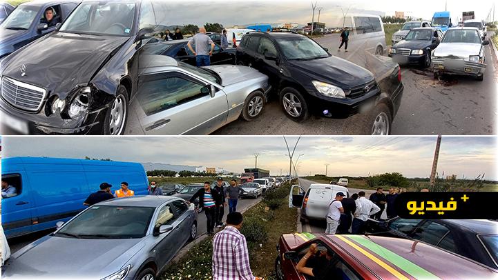 شاهدوا.. كلب يتسبب في حادث اصطدام 7 سيارات على الطريق الرابطة بين الناظور وسلوان