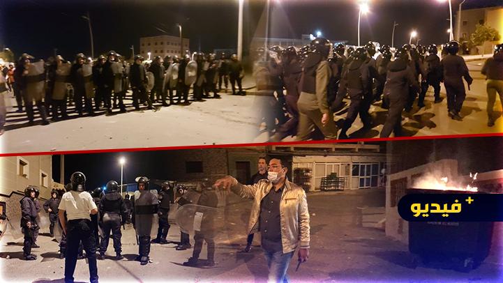 شاهدوا.. استعراض أمني لقوات حفظ النظام بالقرب من مدينة مليلية المحتلة