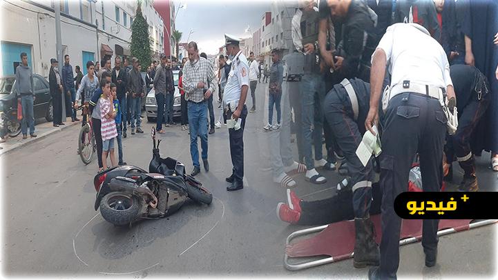 شاهدوا.. حادثة سير خطيرة بين الناظور وأزغنغان ترسل سائق دراجة نارية إلى المستشفى
