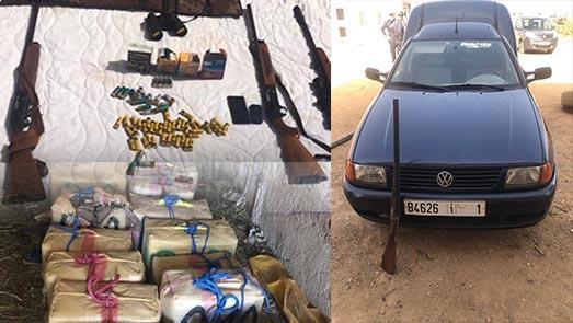 أطنان من المخدرات وأسلحة نارية وسيارات مزورة خلال تفكيك شبكتين للمخدرات بالناظور والدريوش