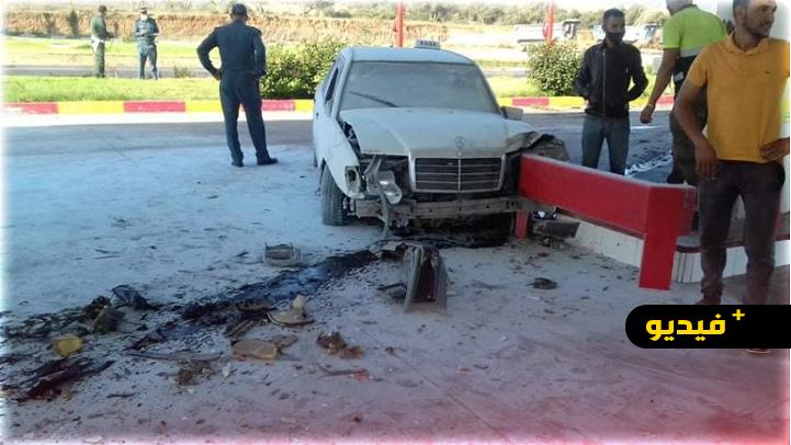 الناظور.. اصطدام سيارة أجرة كبيرة بمحطة للوقود على الطريق الساحلية يخلف إصابات خطيرة