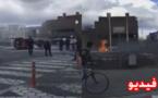"""مشاهد صادمة لشاب من مدينة زايو ينفذ تهديده بحرق نفسه بعد إحساسه ب""""الحكرة"""" بمدينة كورترايك البلجيكية"""