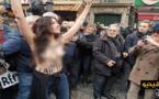 شاهدوا الفيديو.. شابة عارية الصدر تقتحم مسيرة حاشدة ضد الخوف من الإسلام بباريس