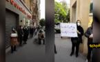 شاهدوا.. المغاربة العالقين بفرنسا يخرجون للإحتجاج أمام السفارة والشرطة تغرمهم