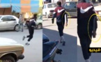 شاهدوا.. شخص يحمل سكينا كبيرا يتجول وسط بني شيكر مهددا سلامة المواطنين