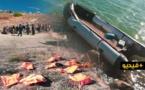 شاهدوا.. مهاجرون سريون ينجون من موت محقق بعد غرق زورقهم بمنطقة أطاليون بالناظور