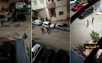 """شاهدوا.. شرطي يطلق النار لحماية زملاء له تعرّضوا لاعتداء جسدي من جانحين """"هائجَين"""""""