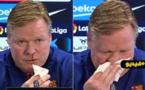 شاهد لحظة انسحاب مدرب برشلونة من مؤتمر صحافي بعد تعرضه لنزيف من الأنف