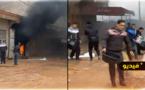 شاهدوا.. حريق يأتي على محل تجاري بالعروي والسكان يحاولون إطفاء النيران بمياه المطر