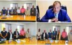الدكتور احمد خرطة يهنئ  الدكتور عادل الغنوبي و الدكتورة خديجة علاوي لحصولهما على شهادة  التأهيل الجامعي