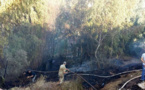 حـريق مهول يشب في حوش احد المنازل بالتجمع السكني كرونة بتمسمان