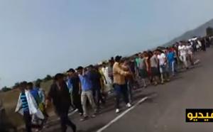مسيرة إحتجاجية  من جماعة تروكوت في إتجاه مدينة الحسيمة