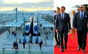 """الملك محمد السادس والرئيس الفرنسي يعطيان انطلاقة أول رحلة لقطار """"البراق"""" الفائق السرعة"""
