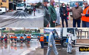 جماعة بني انصار وسلطات المدينة تطلق أكبر عملية تعقيم شوارع وأزقة بلدة فرخانة الحدودية